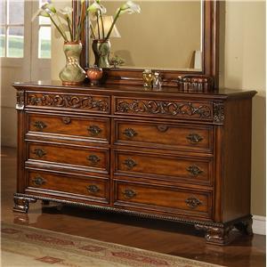 Lifestyle 0185 Traditional Cherry 8-Drawer Dresser