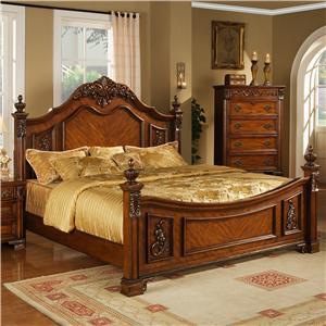 Lifestyle 0185 King Traditional Cherry Panel Bed