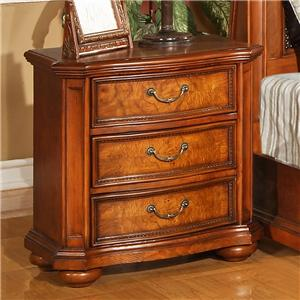 Lifestyle 0243 3 Drawer Nightstand with Crown Molding and Bun Feet