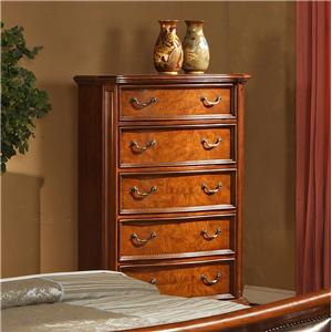 Lifestyle 0243 5 Drawer Chest of Drawers with Crown Molding and Turned Bun Feet