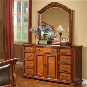 Lifestyle 0243 9 Drawer Dresser with Acanthus Leaf Mirror