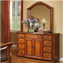 Lifestyle 0243 9 Drawer Dresser with 2 Doors and Case Molding - Shown with Mirror