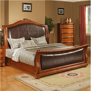 Lifestyle 0243 CA King Faux Leather Upholstered Sleigh Bed with Acanthus Leaf Carving