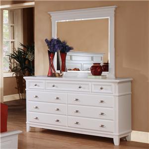 Lifestyle 1111 Casual White 9-Drawer Dresser & Landscape Mirror Set
