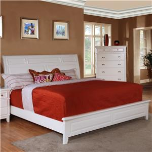 Lifestyle 1111 King Casual White Low-Profile Sleigh Bed