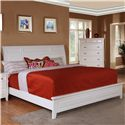 Lifestyle 1111 Queen Casual White Low-Profile Sleigh Bed - Bed Shown May Not Represent Size Indicated