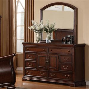 Lifestyle 1130 Bedroom 8-Drawer Cherry Dresser & Arched Mirror Set