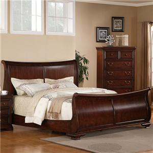 Lifestyle 1130 Bedroom King Transitional Cherry Sleigh Bed