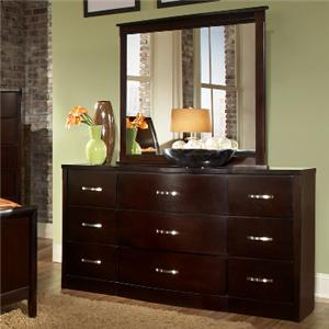 Lifestyle 1174 Bedroom Contemporary 9-Drawer Dresser & Mirror Set