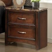 Lifestyle 1187 Bedroom Cherry 2-Drawer Nightstand with Faux Marble Top