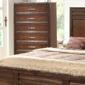 Lifestyle 1187 Bedroom Cherry 5-Drawer Chest with Faux Marble Top