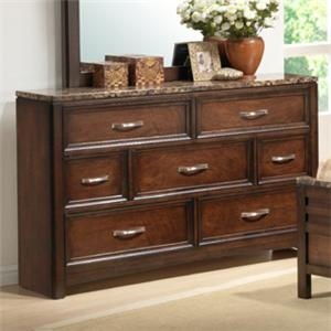 Lifestyle 1187 Bedroom Transitional 7-Drawer Dresser with Faux Marble Top