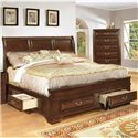 Lifestyle 1192 Queen Transitional Panel Bed with Side and Footboard Storage Drawers - Bed Shown May Not Represent Size Indicated