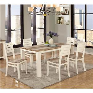 Lifestyle Tommy 7PC Two-Tone Dining Set w/ 6 Side Chairs