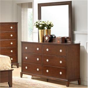 Lifestyle 2142 Bedroom Casual Cherry 6-Drawer Dresser & Mirror Set