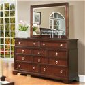 Lifestyle 2146A Casual 10-Drawer Dresser with Bright Hardware and Beveled Mirror
