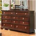 Lifestyle 2146A Casual 10-Drawer Dresser with Bright Hardware