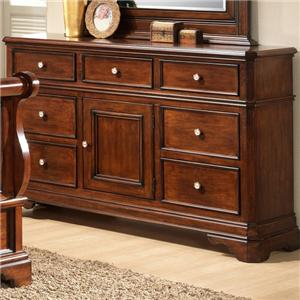 Lifestyle 3185A 7 Drawer Dresser with Raised Panel Fronts and Bracket Feet