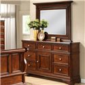 Lifestyle 3185A Landscape Mirror with Detailed Molding on Wood Frame - Shown with 7 Drawer Dresser