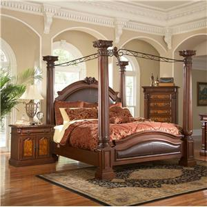 Lifestyle 3218A Queen Canopy Upholstered Poster Bed