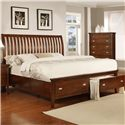 Lifestyle 4130A Twin Sleigh Storage Bed - Item Number: C4130A-TS0+TTE+YTN