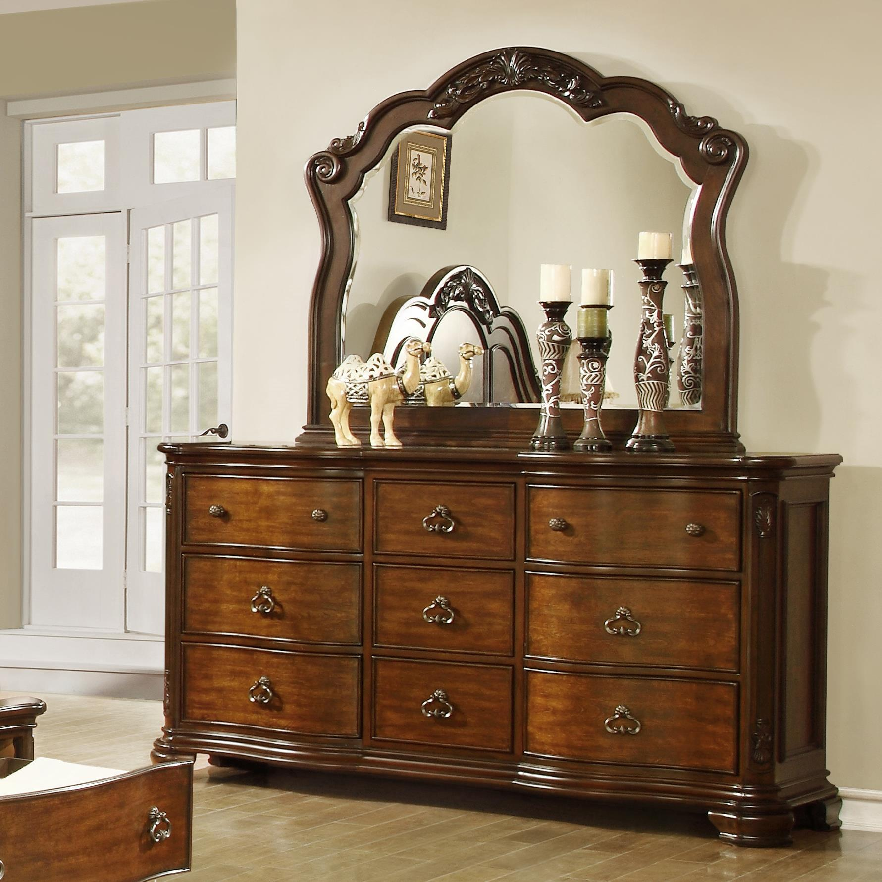 Dresser with 9 Drawers and Mirror Set