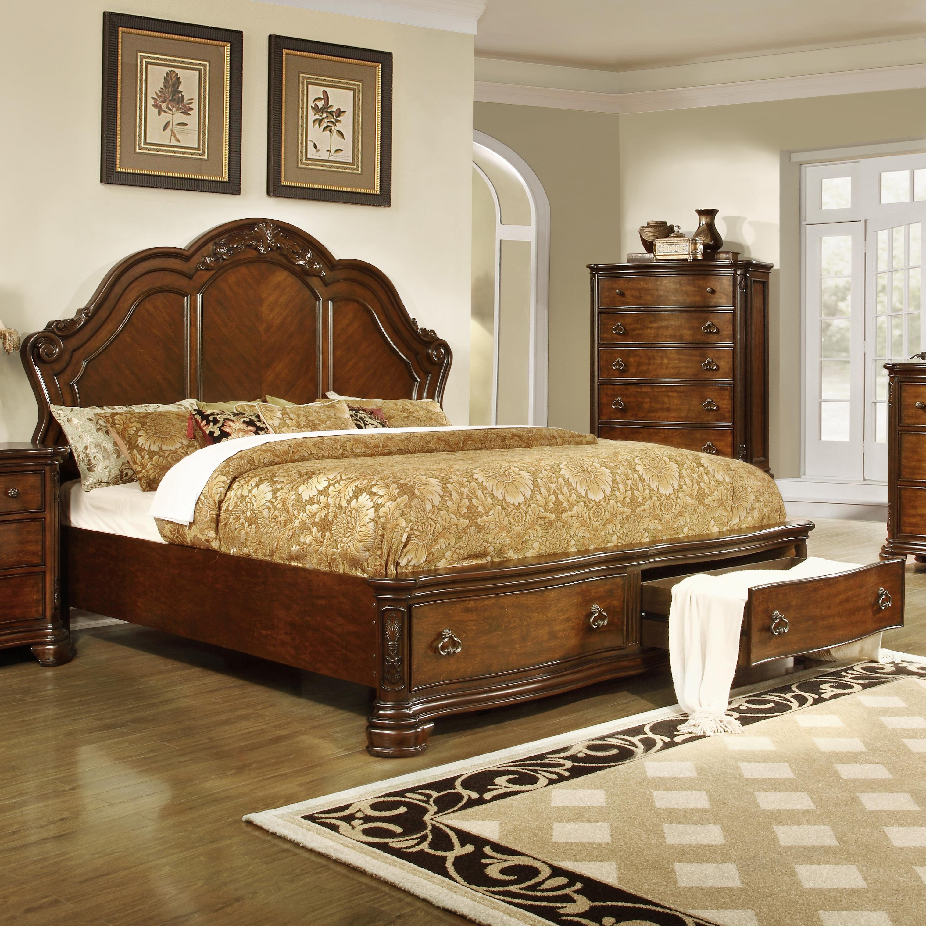 Lifestyle Tobacco King Size Panel Bed with Storage - Item Number: C5390A-GP0+GTG+BTN-XXXX