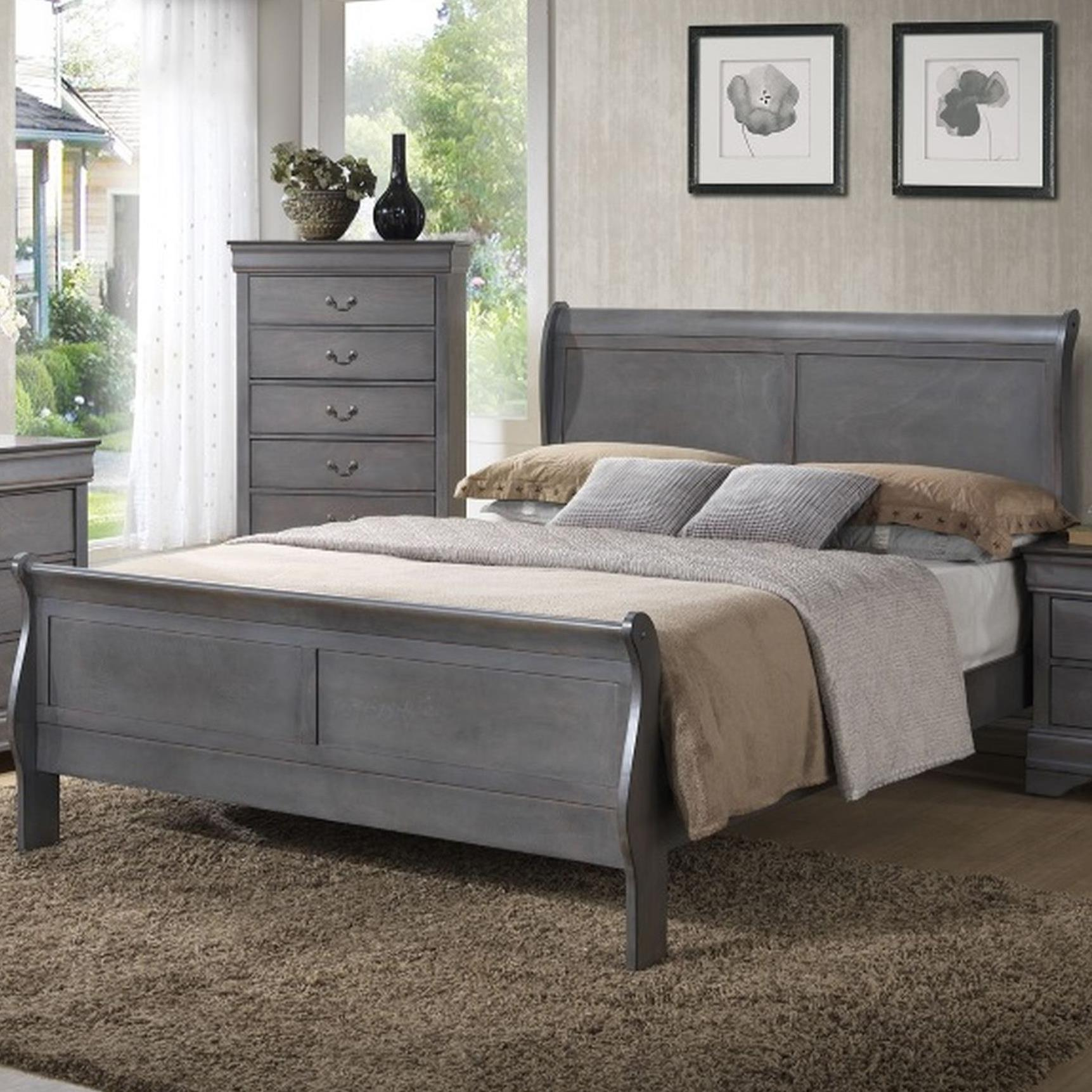 4934A Full Sleigh Panel Bed by Lifestyle at Beck's Furniture