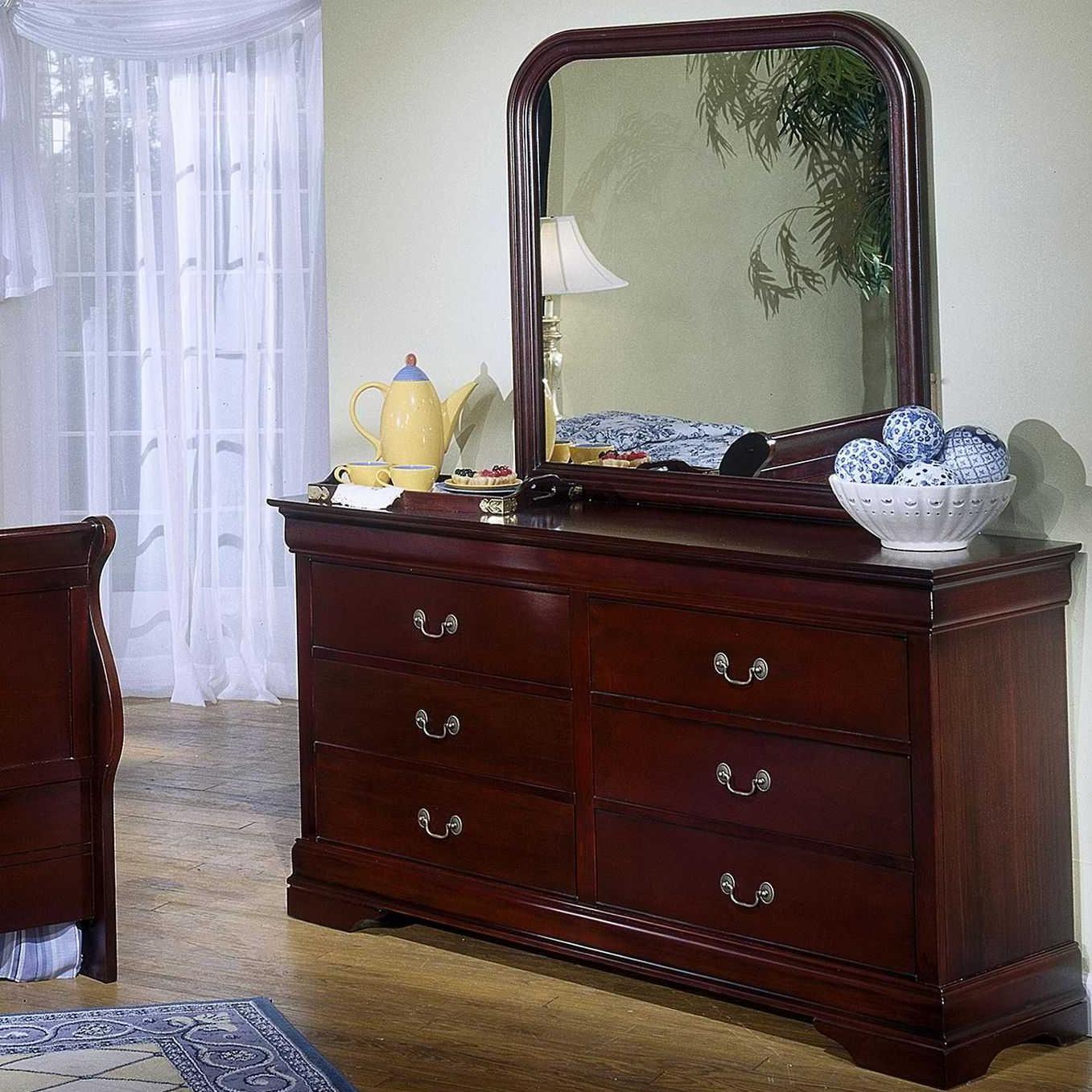 Lifestyle 5933 Dresser & Mirror Combo - Item Number: C5933K-040-6DCH+050-MHCH