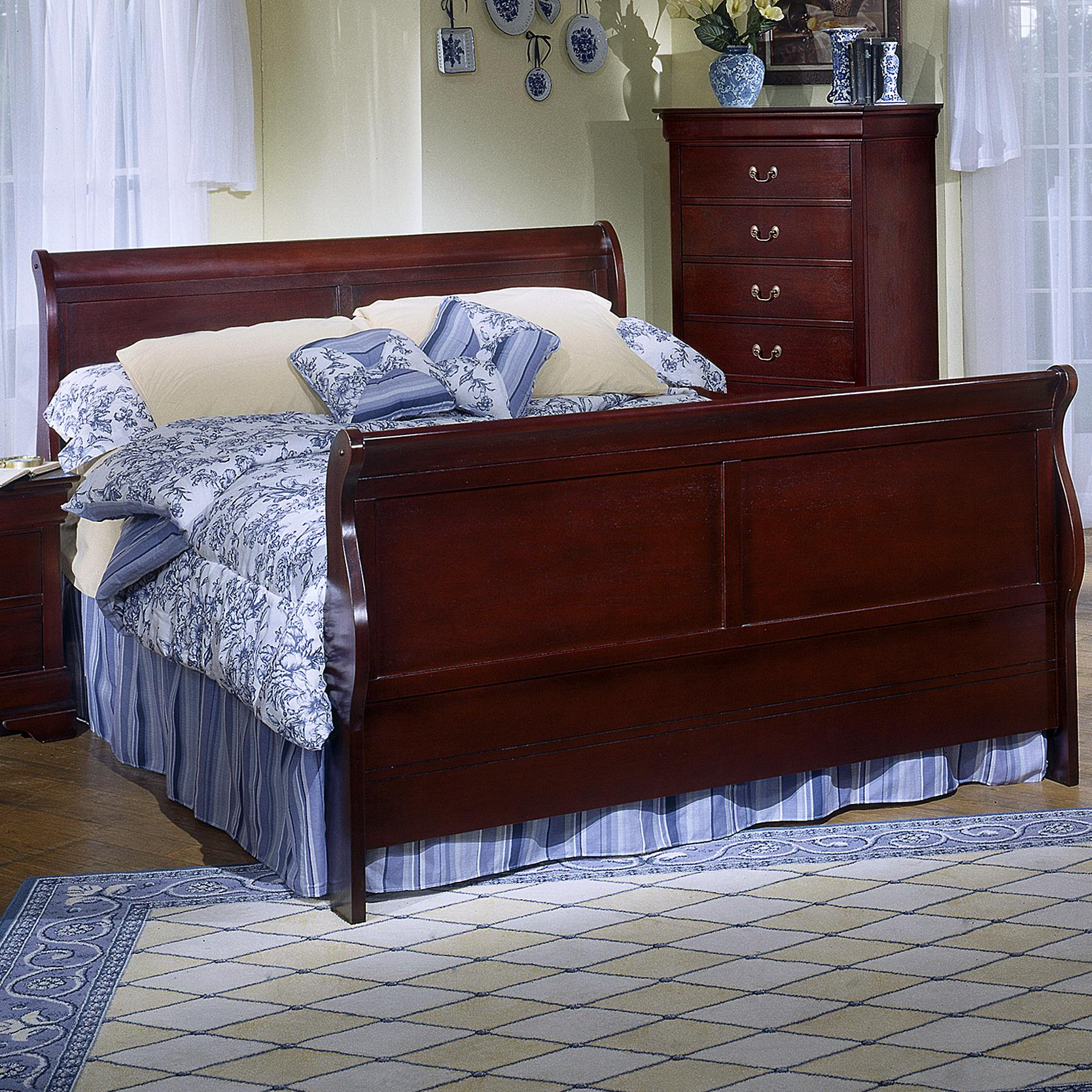 Lifestyle Louis Estates Queen Sleigh Bed - Item Number: C5933K-QSA-XXCH+QXP-XXCH