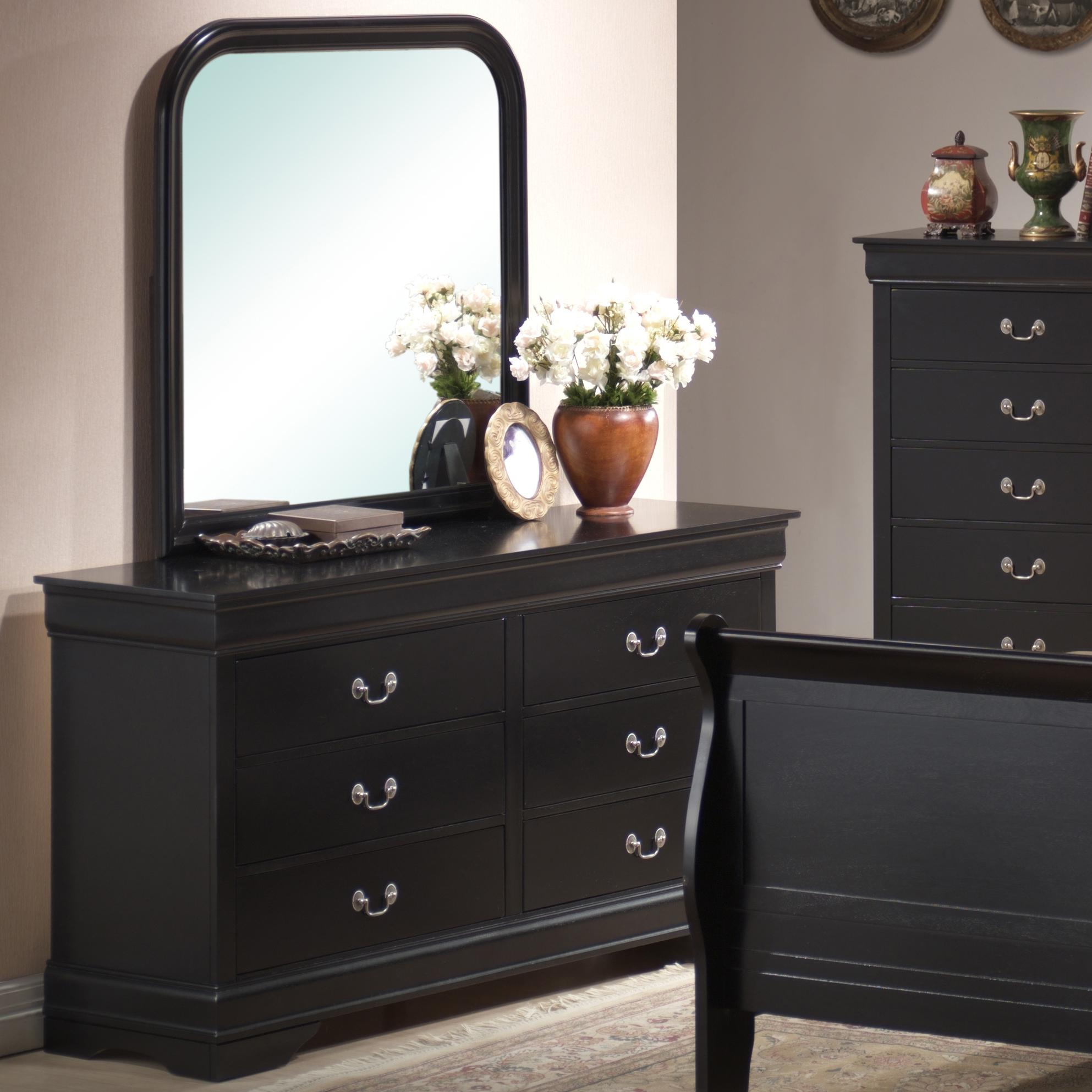 Lifestyle 5934 Dresser & Mirror Combo - Item Number: C5934A-040-6DBL+050-XXBL