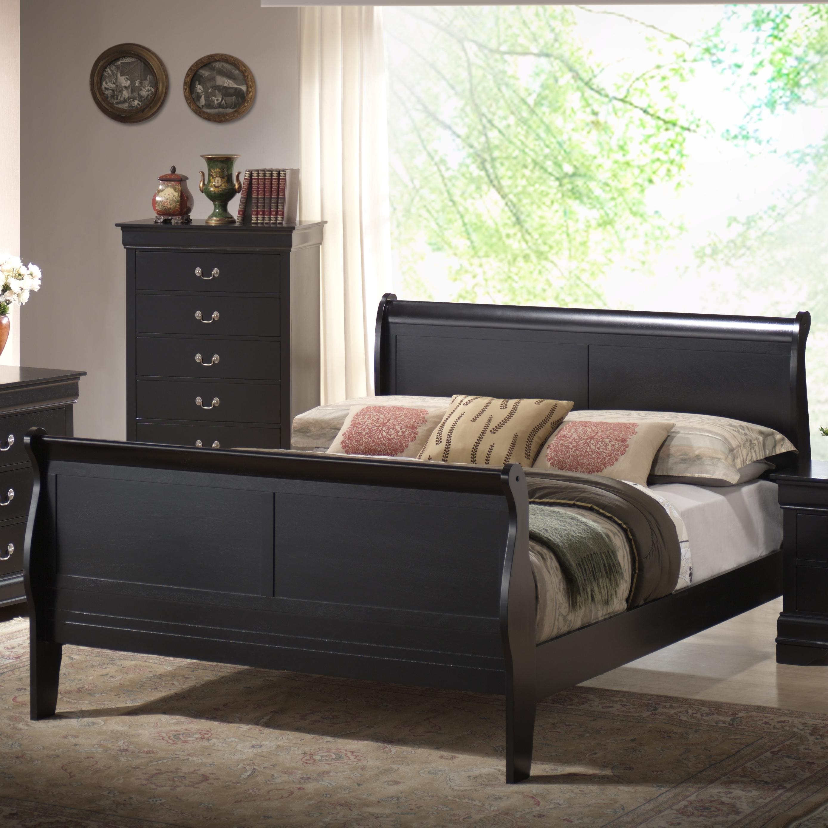 Lifestyle Louis Phillipe Queen Sleigh Bed - Item Number: C5934A-QSA-XXBL+QXP-XXBL