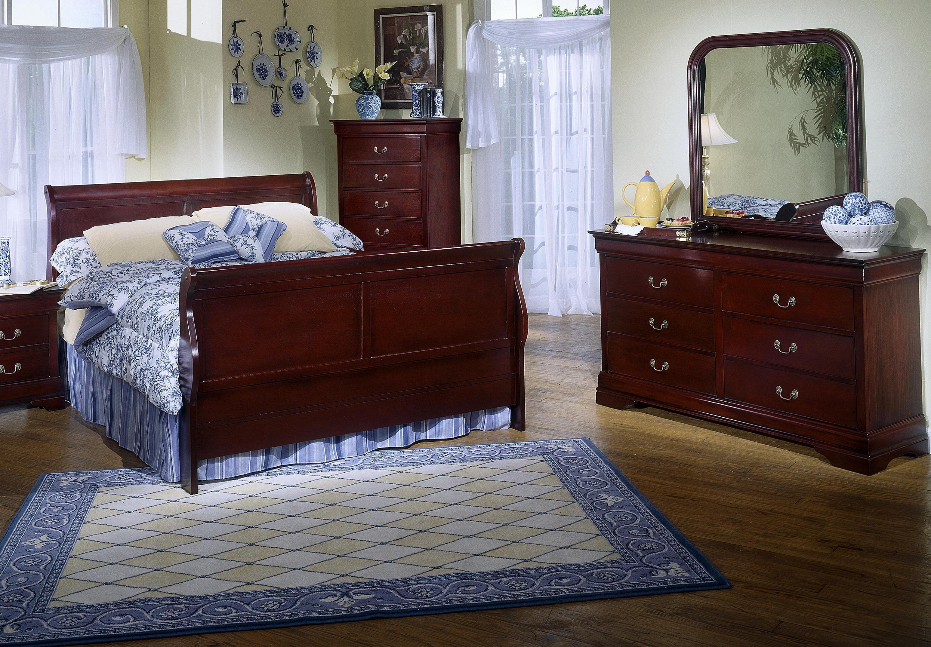 Lifestyle Louis Phillipe Cherry Sleigh Queen Bedroom - Item Number: C5933-HSFL