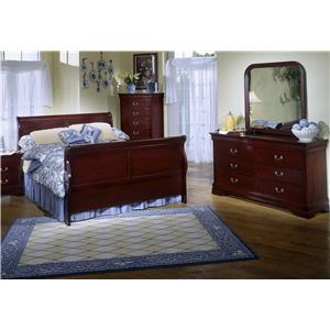 Lifestyle Louis Phillipe Cherry Sleigh Queen Bedroom