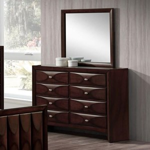 Lifestyle 6181B 8 Drawer Dresser and Mirror