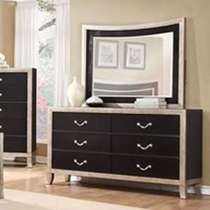 Lifestyle 6199A 6 Drawer Dresser and Mirror