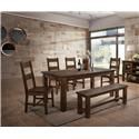 Lifestyle 6377D 6 Piece Dining Group with Bench - Item Number: 6377D-DTY-1DB-4DSC