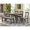 Lifestyle 8618 Dining Table, 4 Side Chairs and Bench - Item Number: 491386186