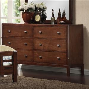 9142 6 Drawer Dresser with Geometric Drawer Knobs by Lifestyle