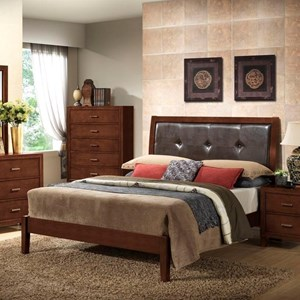 Lifestyle 9182 Queen Leather Panel Bed