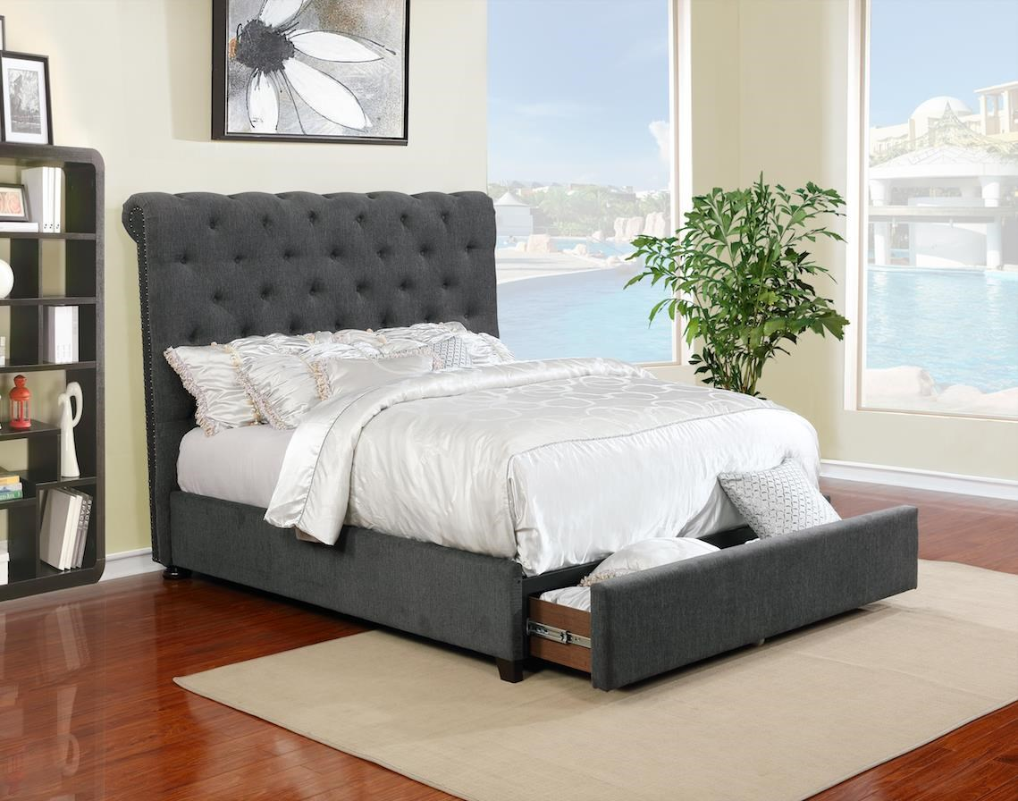 Queen Upholstered Bed with Underbed Drawer