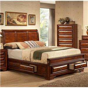 Lifestyle B1172 California King Captain's Bed with Bracket Feet and Sleigh Headboard