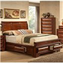 Lifestyle B1172 California King Captain's Bed with Bracket Feet and Sleigh Headboard  - Bed Shown May Not Represent Size Indicated