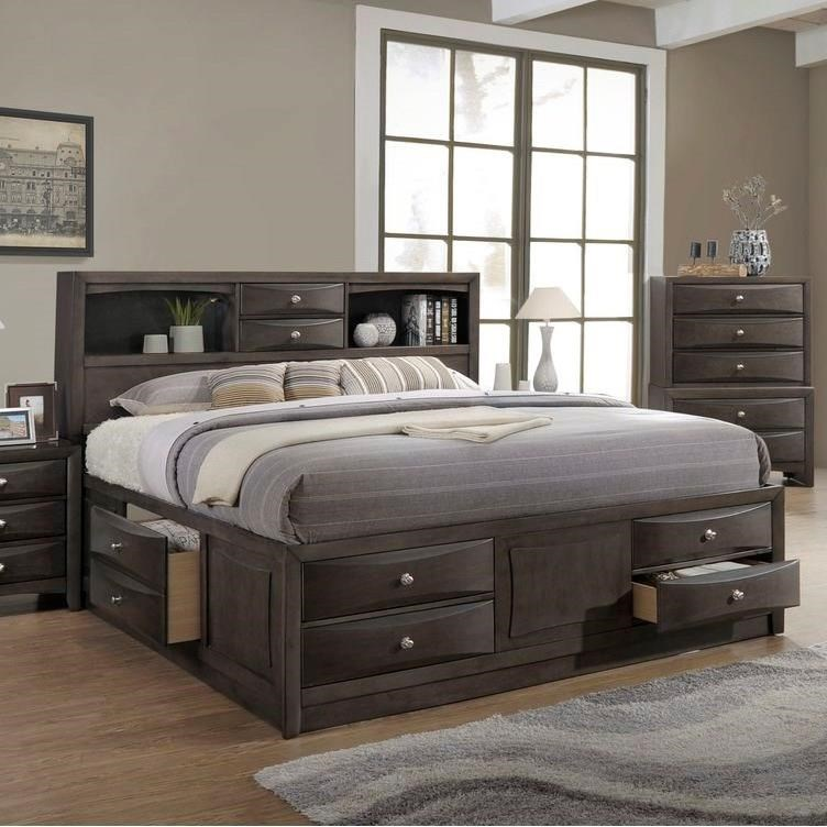 Lifestyle Todd Gray Queen Storage Bed W/ Bookcase