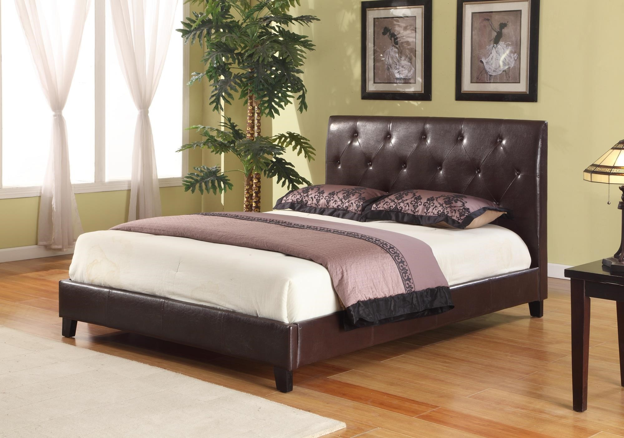 Full Upholstered Faux Leather Tufted Bed