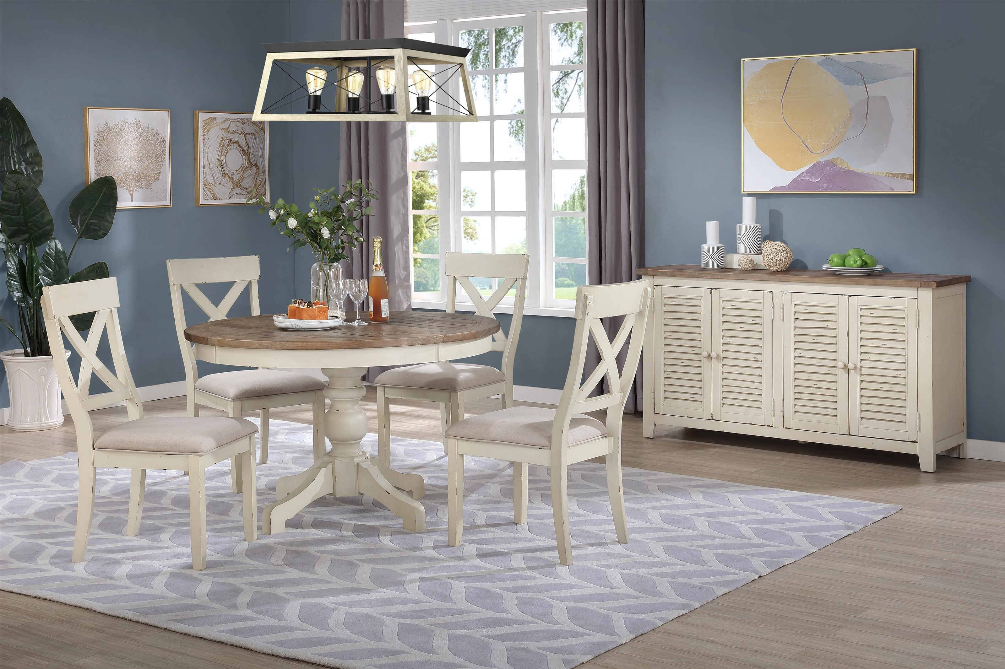 C1855Dwht-brn Round Table x 4 chairs by Lifestyle at Furniture Fair - North Carolina