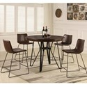 Lifestyle C1860P Counter Height Table and Stool Set - Item Number: C1860P-PTX+4xC1860P-UXDBX
