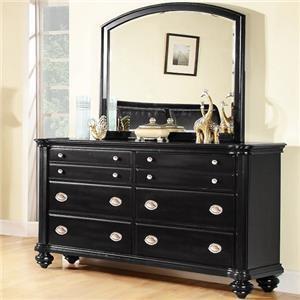Lifestyle C2175 Klaus Black Dresser and Mirror