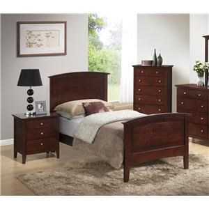 Transitional Twin Bed with Panel Headboard a