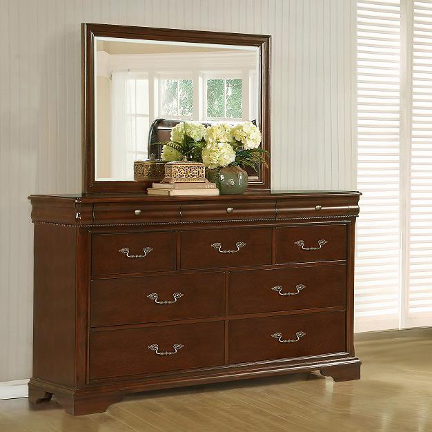 10 Drawer Dresser and Beveled Mirror